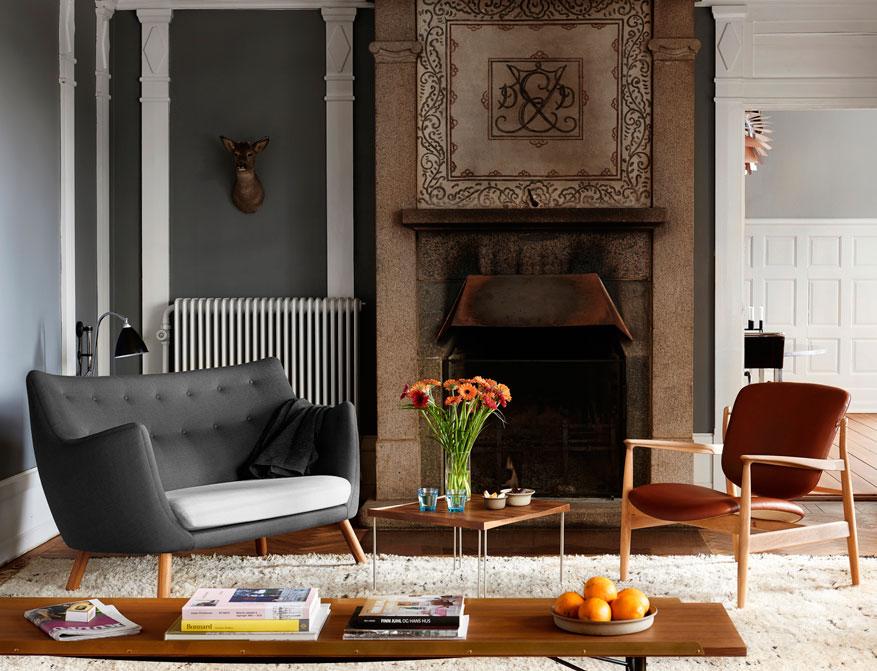 Der France Chair mit Poet Sofa, Table Bench und Tray Table von Finn Juhl