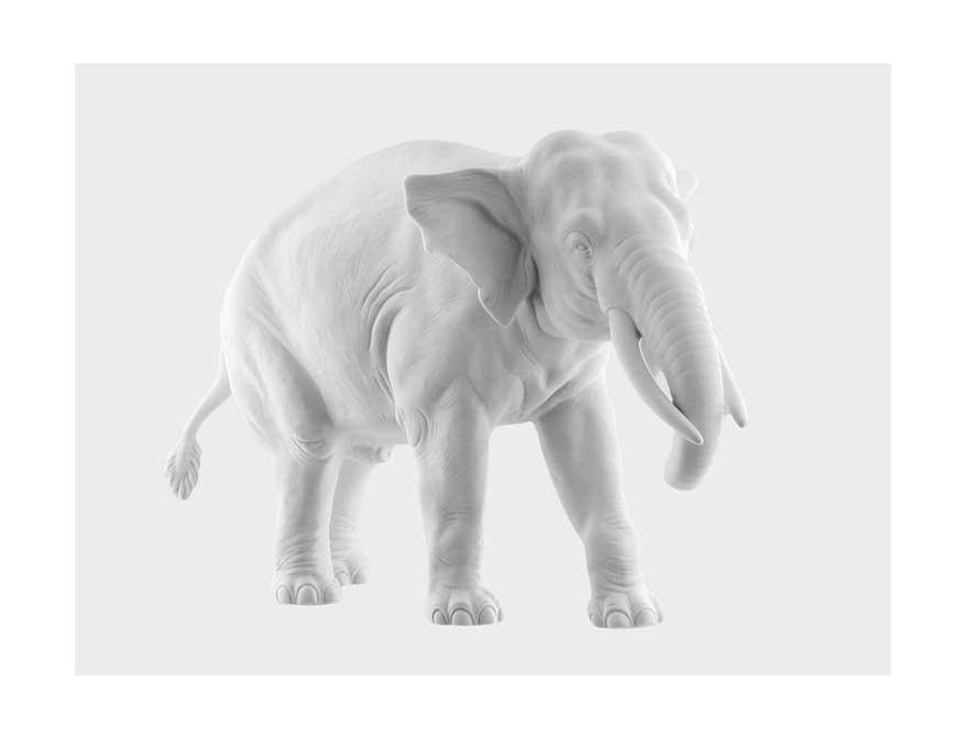 Der Elefant Djamila aus weißem Biscuitporzellan von Porzellan Manufaktur Nymphenburg