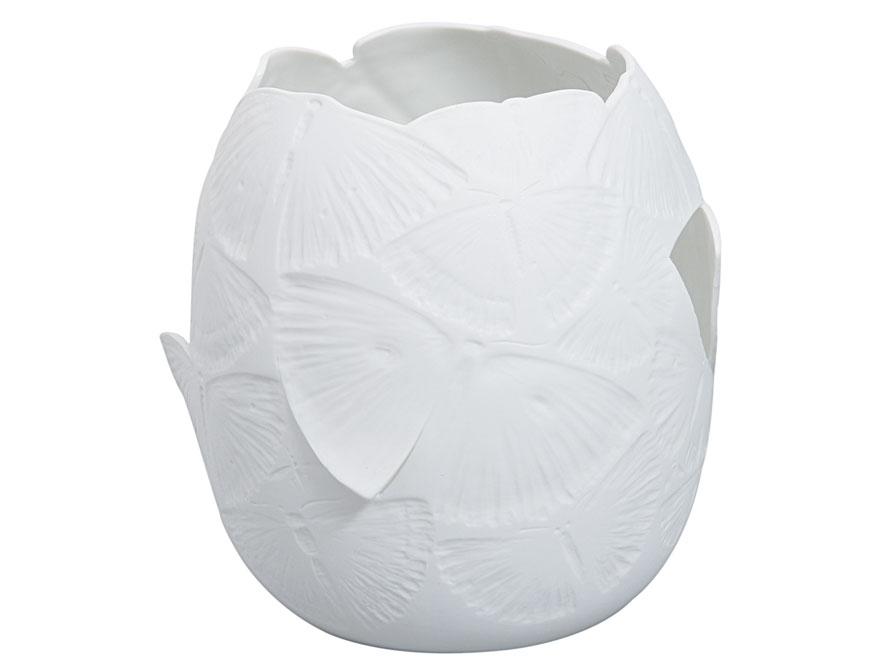 Das Falterwindlicht in weißem Biskuitporzellan von Ted Muehling für die Porzellanmanufaktur Nymphenburg