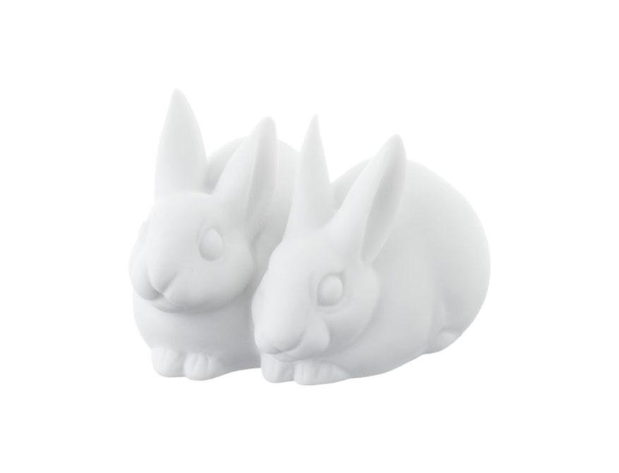 Das Hasenpaar in Ausführung Biskuitporzellan weiß von Porzellan Manufaktur Nymphenburg