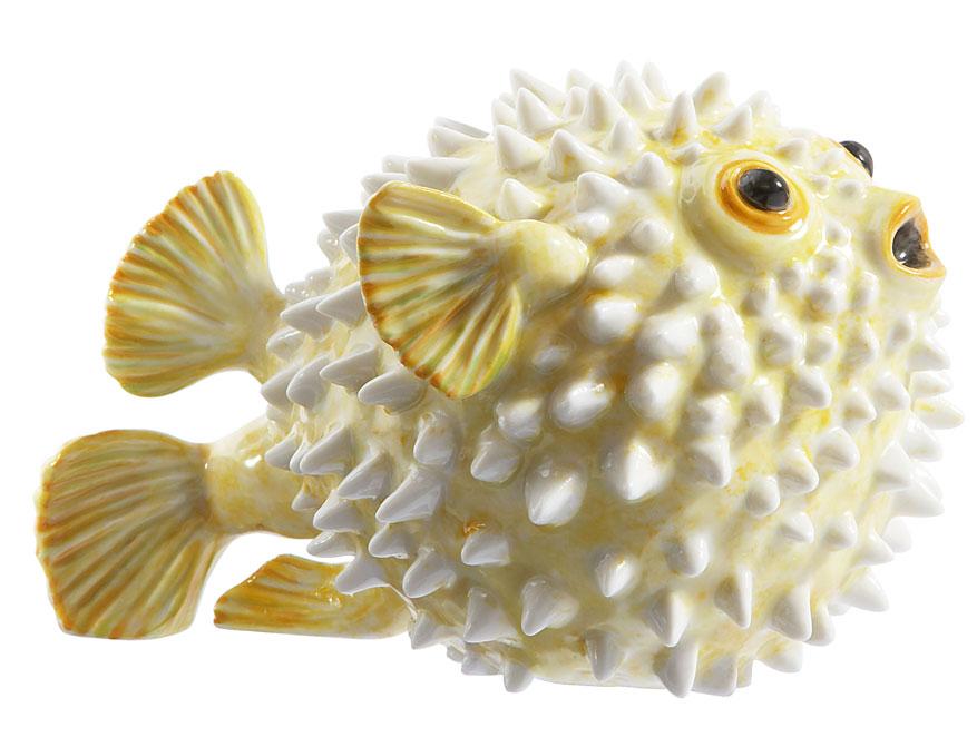 Der Igelfisch in gelber Ausführung gefertigt von der Porzellanmanufaktur Nymphenburg in München