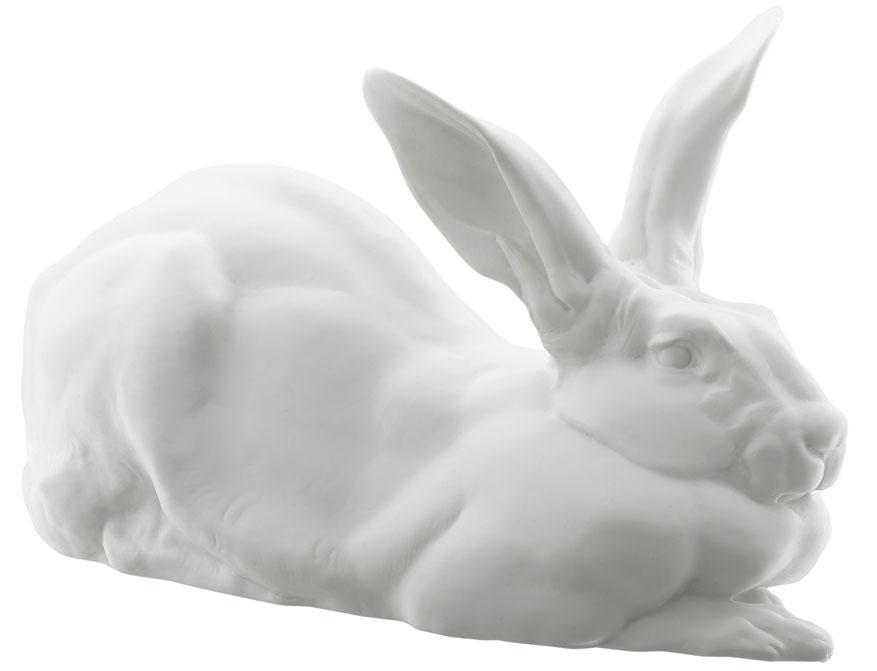Der Königshase Anton aus weißem Biskuitporzellan gefertigt von der Porzellanmanufaktur Nymphenburg in München