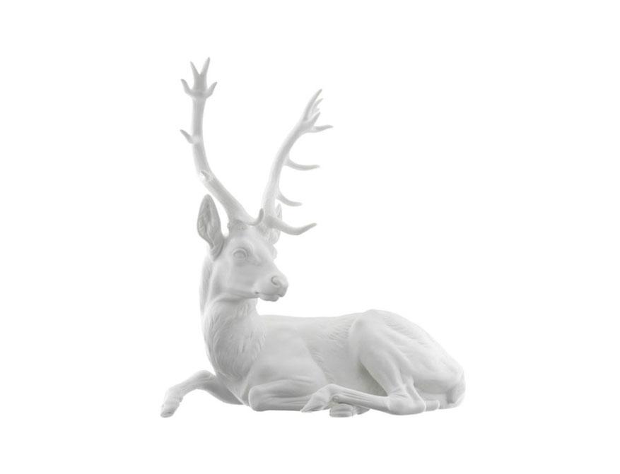 Liegender Hirsch aus Biskuitporzellan von Porzellan Manufaktur Nymphenburg