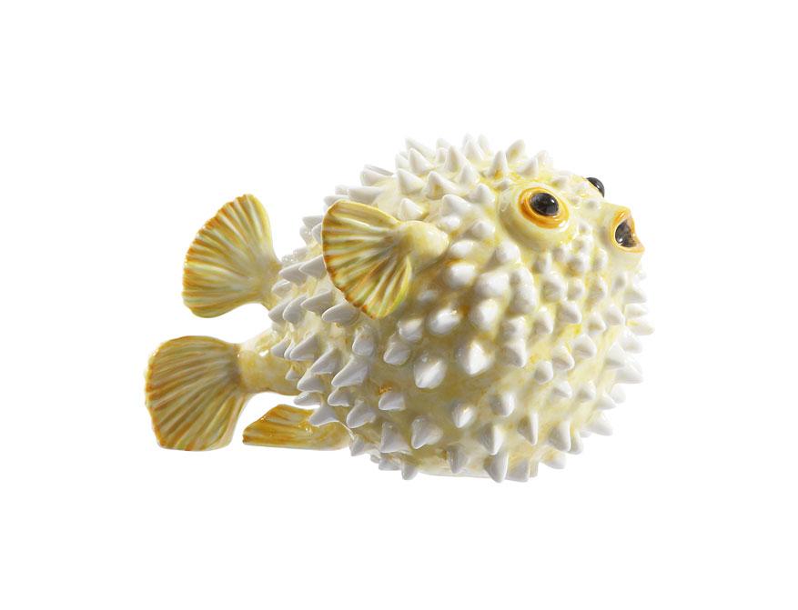 Der Igelfisch Luna aus handbemaltem Porzellan in Ausführung gelb von Porzellan Manufaktur Nymphenburg