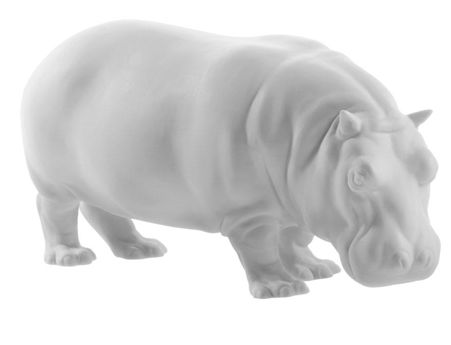 Das Nilpferd Mathilda aus weißem Biskuitporzellan gefertigt von der Porzellanmanufaktur Nymphenburg in München