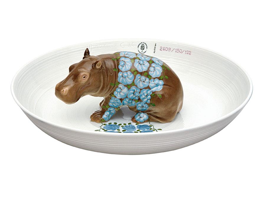 Tierschale mit Nilpferd aus handbemaltem Porzellan von Hella Jongerius by Porzellan Manufaktur Nymphenburg