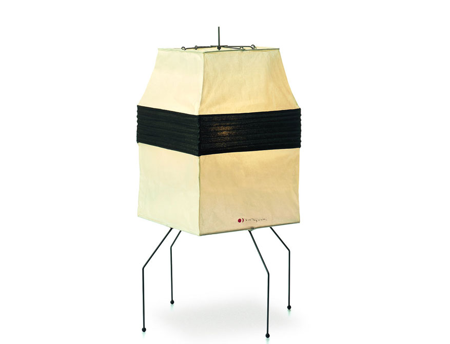 Stehleuchte Akari UF1-H von Isamu Noguchi mit Lampenschirm aus Shoji-Papier und Füßen aus Stahldraht