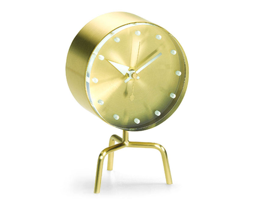 Desk Clock Tripod Clock in Messing und Acrylglas von George Nelson by Vitra