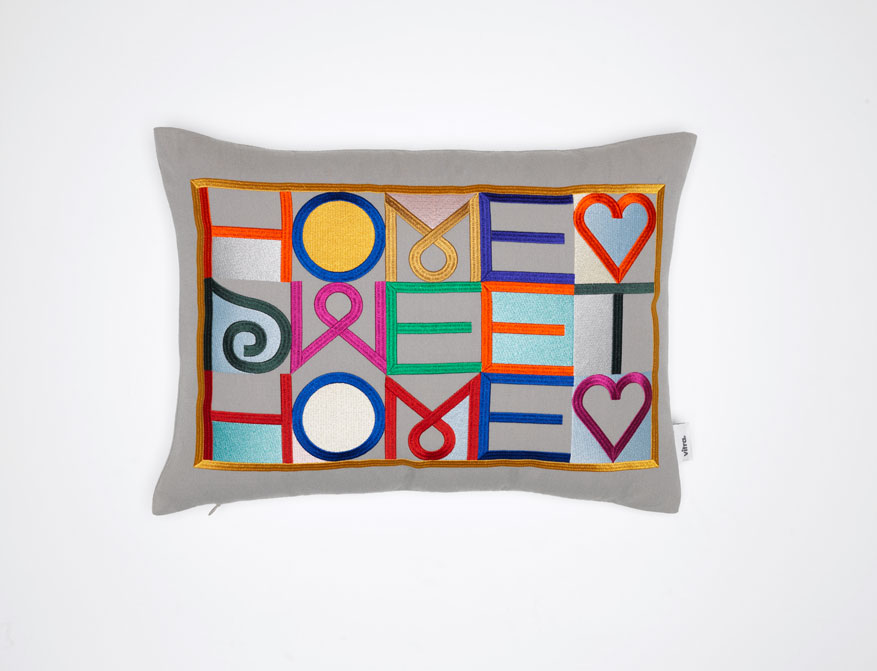 Embroidered Pillow Home sweet home in grau von Alexander Girard