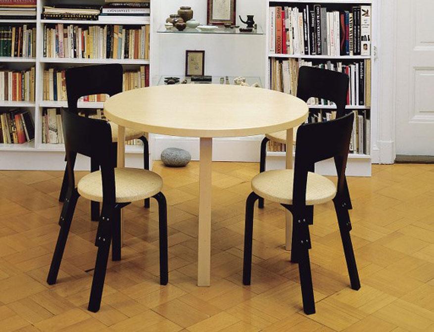 Stuhl 66 in schwarz lackiert mit Tisch 90A von Alvar Aalto