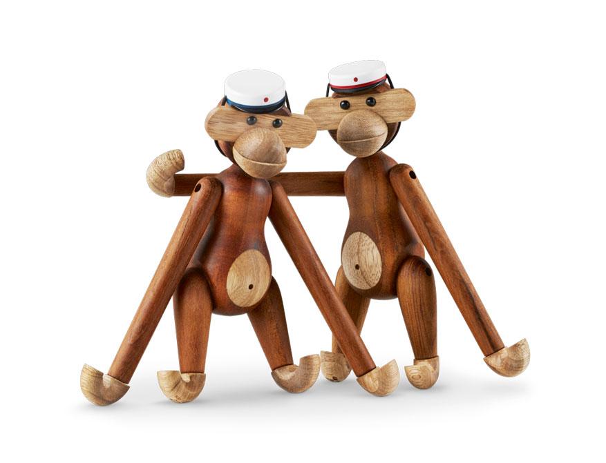 Affe aus Teak/Limba Holz mit Mütze von Kay Bojesen