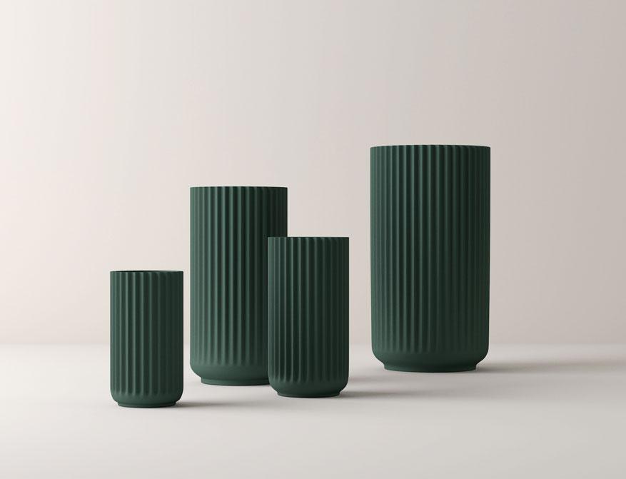 Vase oder Windlicht aus Porzellan in Copenhagengreen und verschiedenen Größen von Lyngby