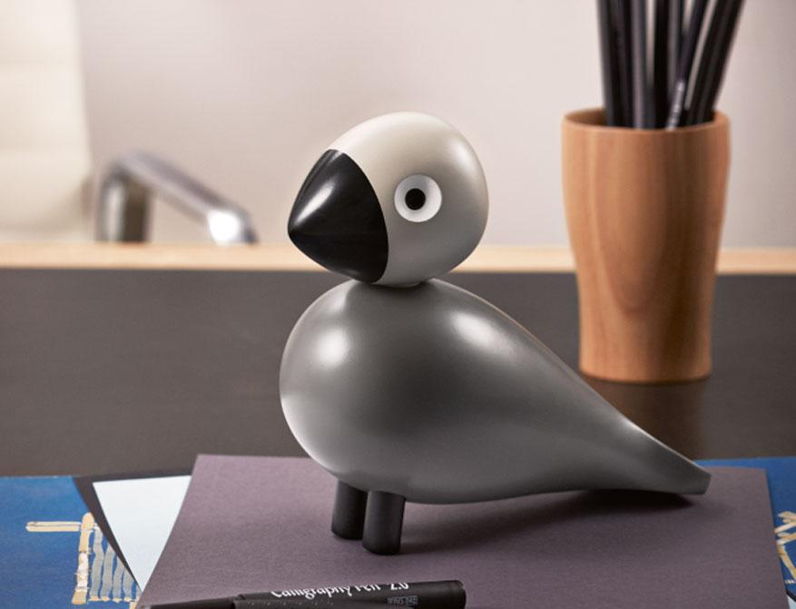 Singvogel Ernst aus bemaltem Buchenholz in grau/schwarz von Kay Bojesen