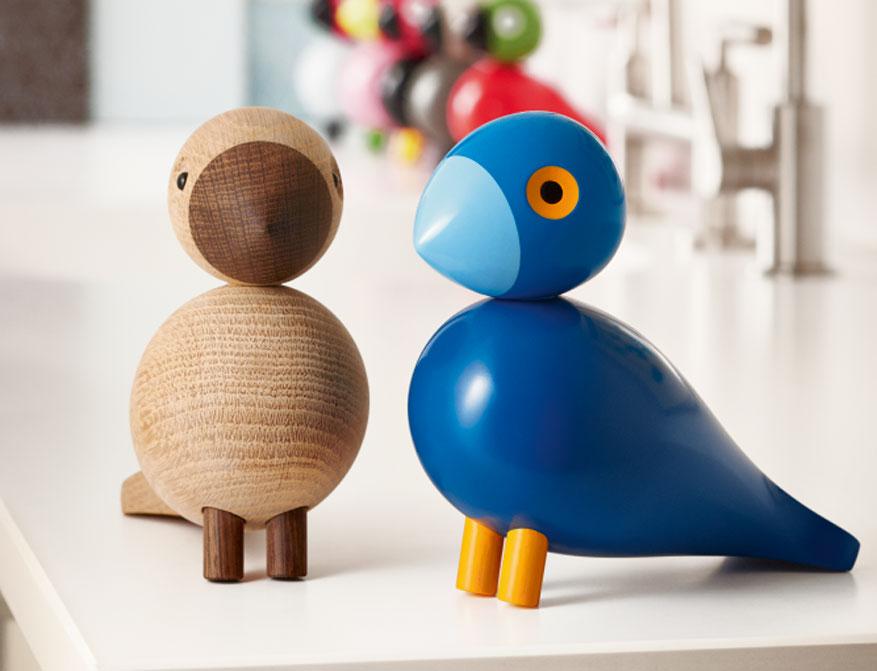 Singvogel Kay und Alfred aus blau bemaltem Buchenholz und Eiche von Kay Bojesen