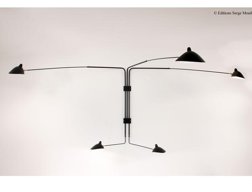 Die Wandleuchte fünfarmig in Ausführung schwarz von Serge Mouille